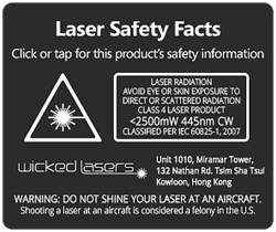 Wicked Lasers safety label class 4
